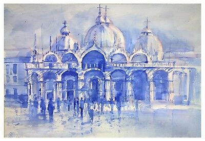 "ORIGINAL Art Gallery Cityscape Painting St.Mark's Square 23.6x27.5"" Lorand Sipos"