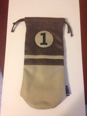 NEW Stitch Golf 1 Wine Bag Champagne Caddie Holder Leather Brown Beige