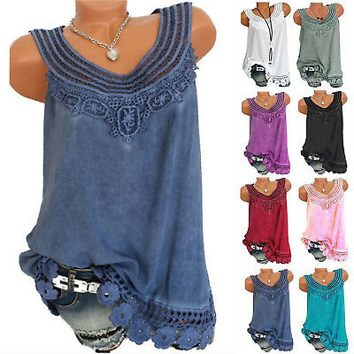 Summer Womens Lace Vest Blouse Tops Ladies Sleeveless T-Shirts Plus Size 8-22