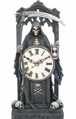 Nemesis Now - Time Waits for No Man Clock, Anne Stokes, Grim Reaper, Skulls Gift