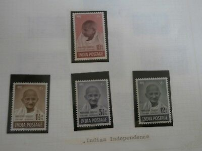 India 1948 KGVI Ghandi Issue set complete MNH/MLH. SG 305-308. Sc 203-206.