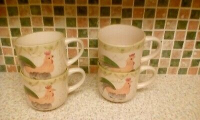SET OF 4 MUGS CUPS CHICKEN SCOTTS OF STOW Stackable WHITE  9CM DIAMETER 8CM HIGH