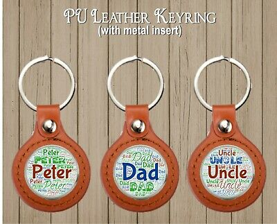 Pu Leather Keyring With Metal Insert Ideal Birthday Christmas Gift Dad Brother