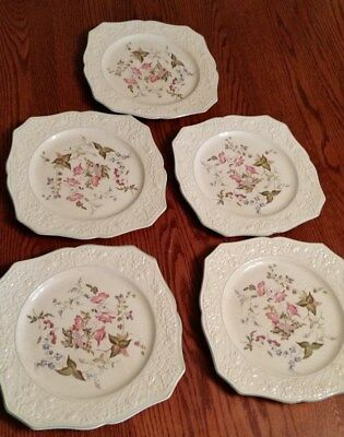 Vint. American Chinaware Briar Rose by Pope Gosser-Dinner Plates-Set of 5