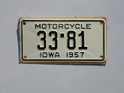Iowa 1957 motorcycle license plate,tag