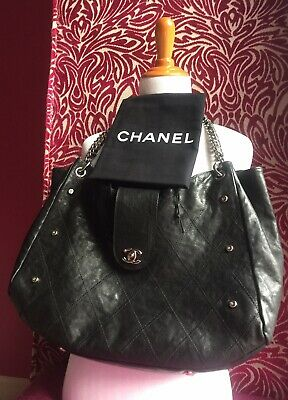 4c6096cf3990 CHANEL BLACK GLAZE Soft Caviar Chain CC Turnlock Shoulder Bag Hand Tote  Large XL - EUR 1.854