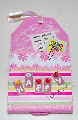 Handmade - 'Happy Birthday' Pink Tag Album - 14x9cms - 8 Blank Pages