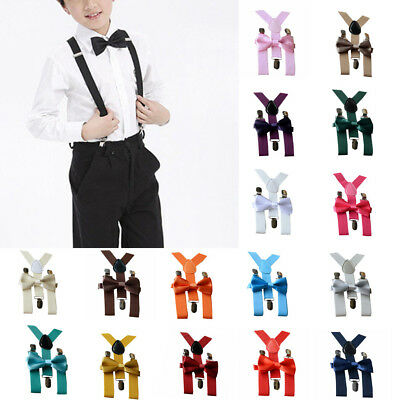 Kids Baby Boy Girl Adjustable Braces Elastic Suspenders and Bow Tie Set Colorful