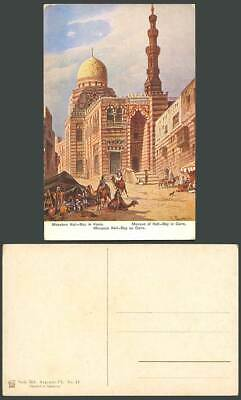 Egypt F. Perlberg Artist Old Postcard Cairo Kait Bey Mosque, Camels Street Scene