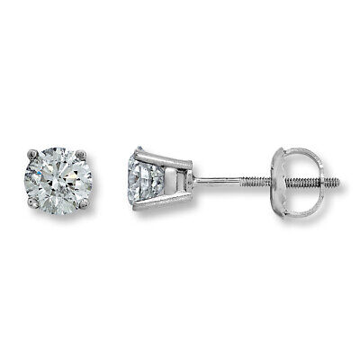 1.50ctw Round Solitaire Natural Diamond Stud Earrings 14K White Gold
