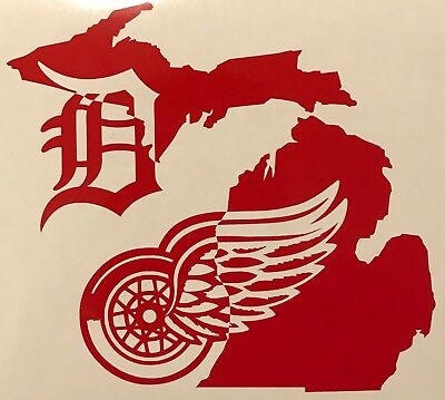 1949d3048 Detroit Red Wings Tigers Michigan Mitten LCA Yeti Cup Vinyl Decal Sticker