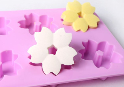 6 balls cherry blossoms Silicone soap Mould plaster Mold