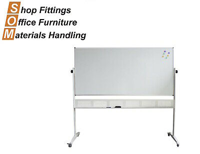 Double Sided Pivoting Mobile Whiteboard On Stand Aluminium Frame