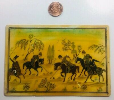 19th / 20th C Antique Persian Hand Painted Ivorine Royal Polo Match Middle East