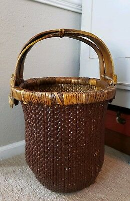 Antique Vintage Chinese Rice Gathering Basket Woven Bentwood Elm Handle X Large