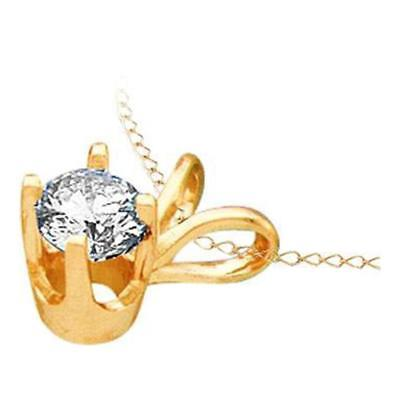 14k Yellow Gold Womens Round Diamond Solitaire Pendant 1/4 Ct tw PayPal Credit