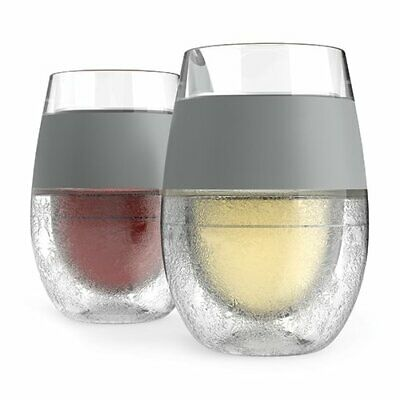 Wine Freeze Cooling Cups 8.5 oz., Gray (Set of 2) - FREE SHIPPING