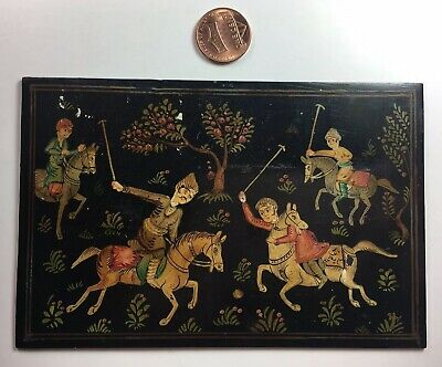 19th / 20th C Antique Persian Hand Painted Celluloi Royal Polo Match Middle East