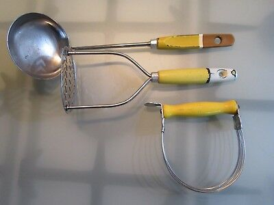 3 Yellow 1950s Skyline Nutbrown Utensils Soup Ladle Potato Masher Pastry Blend