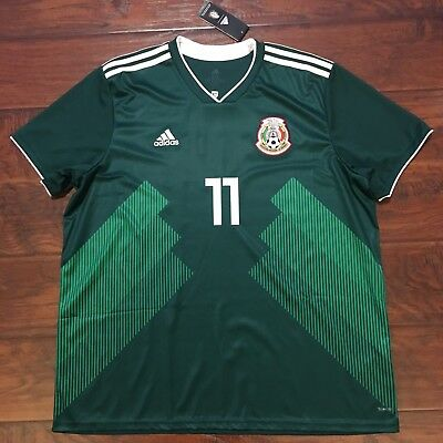 5ced928fc62 2018 Mexico Home Jersey  11 Carlos Vela 2XL S S Adidas World Cup Soccer