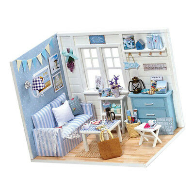DIY Dollhouse Kit with Furniture Unassembled Cozy Travel House Kids Gift