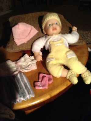 2 KNITTED DOLLS Outfit clothes  (To Fit A 12/13 inch  Doll)