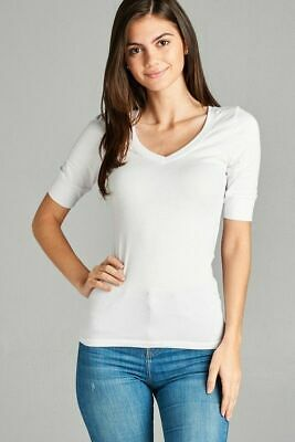 Women's V-Neck T-Shirt 3/4 Elbow Length Sleeve Solid Casual Cotton Basic Tee Top