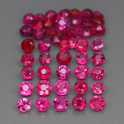 Round 2 to 2.5 mm.Rare! Thailand Top Pinkish Red Ruby (No Glass) 50Pcs/3.18Ct.
