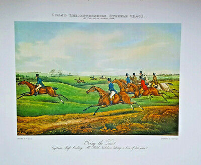 "25 Wholesale Large Steeple Chase Fox Hunting Print Horse 24x27"" Picture Vintage"