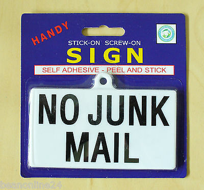 NO JUNK MAIL Sign 110 x 60mm - Self Adhesive Stick-On or Screw-on