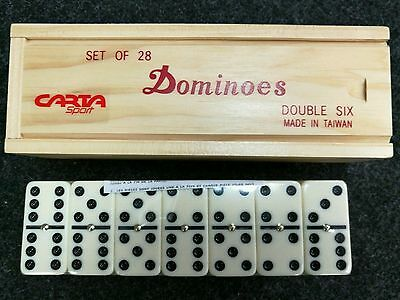 12.99  NEW Double Six Club  Dominoes with Spinners Set 28 in Wooden BoxFREEPOST