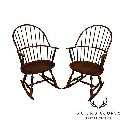 Martin's Chair Shop Bench Made Solid Cherry Sackback Pair of Windsor Rockers (F)