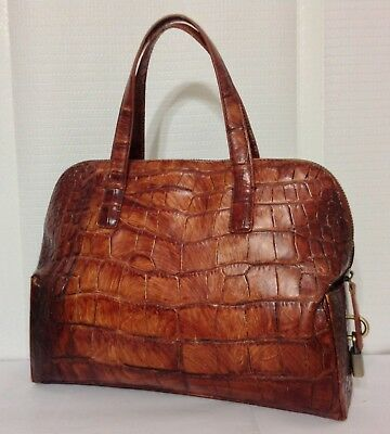 DKNY BROWN CROC Embossed Leather Triple Compartment Buckle Flap Hobo ... f8a89112295d0