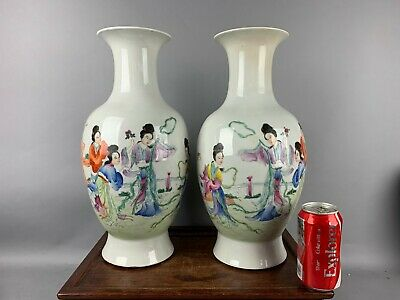 20th C. HongXian Marked Pair Chinese Famille-Rose Beauties Vases