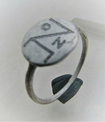 Superb Late Byzantine Period Silver Signet Ring With Monogram On Bezel