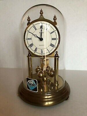 VTG West Germany KUNDO Quartz Anniversary Clock W Pendulum, Brass ,Dom WORKS