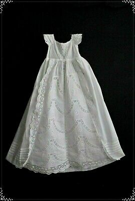 Exquisite Antique Christening Gown Robe Ayrshire Embroidery 1800's Vintage Dress