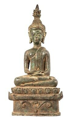 Antique 19th Century Southeast Asia Laos Meditation Buddha Statue - 29cm/12""