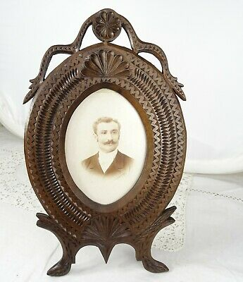"12.5""  Antique French Large Folk Art Hand Carved Picutre Frame Walnut Wood-19th"