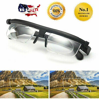 Dial Adjustable Glasses Variable Focus for Reading Distance Vision Eyeglasses