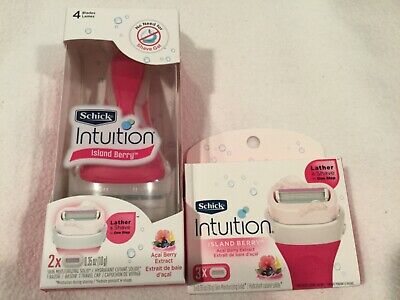 New Schick Intuition Island Berry Razor & Refill Lot Açaí Berry Extract