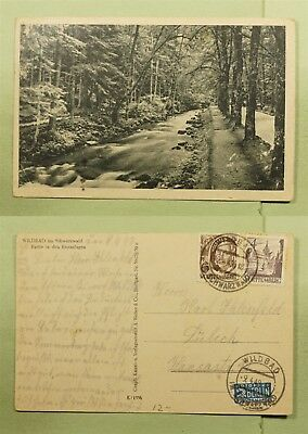 DR WHO 1949 GERMANY WURTTEMERG WILDBAD POSTCARD TO LUBECK  d87150