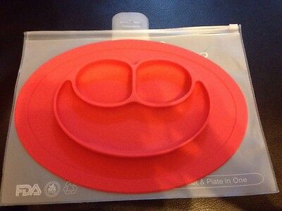 One-piece Silicone Mat Baby Kids Suction Table Food Tray Placemat plate - RED