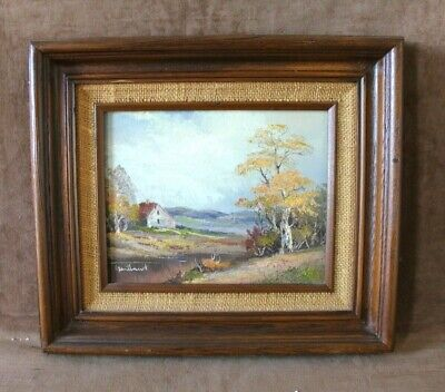 Signed Gartland Vintage Cabin by The  Lake Landscape Oil Painting (C.O.A)