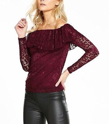 NEW V by Very Petite Frill Lace Bardot Top - WINE - SIZE 10 - RRP £27