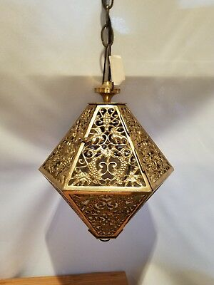 Vtg Japanese Asian Oriental Cast Brass Swag Pendant Fixture Chandelier