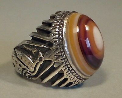 Antique SUFI RING with magic EYE AGATE Islamic Middle Eastern 26 g. Silver 925