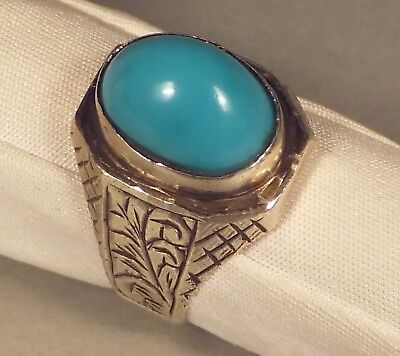 Antique SUFI RING with fine TURQUOISE Islamic Middle Eastern Persian Silver 925