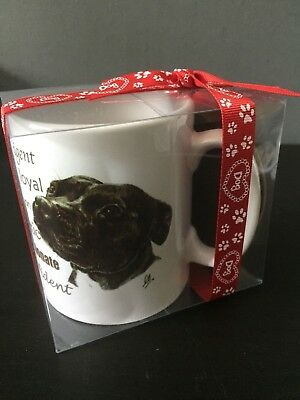 STAFFORDSHIRE BULL TERRIER STAFFY (Black) white tea coffee mug and coaster set