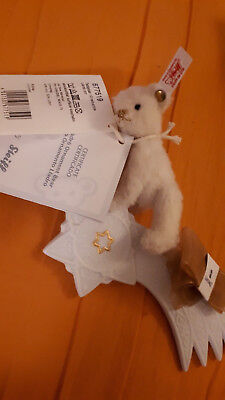 "STEIFF  /""LLADRO ORNAMENT 2012/"" EAN 677519 WHITE WOOL PLUSH TEDDY ON LLADRO STAR"